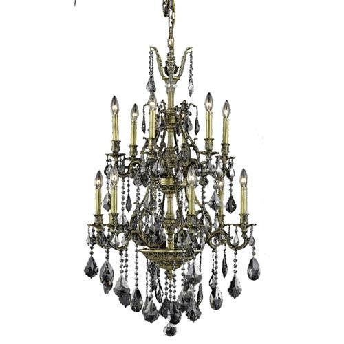 Elegant Lighting Monarch Antique Bronze Twelve-Light Chandelier with Silver Shade/Grey Royal Cut Crystals