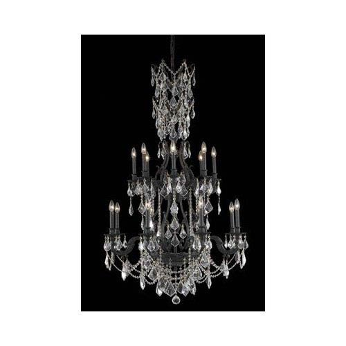 Monarch Dark Bronze Sixteen-Light Chandelier with Golden Shadow/Champagne Royal Cut Crystals