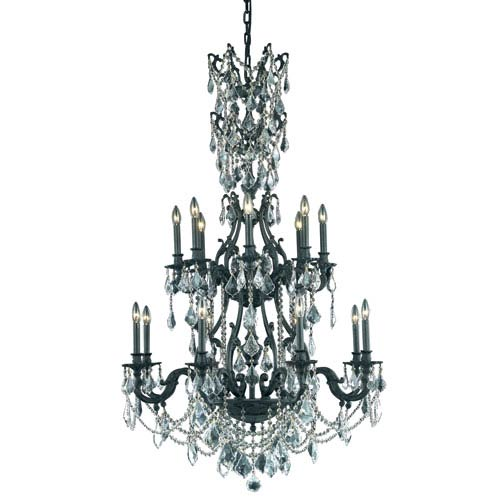 Elegant Lighting Monarch Dark Bronze Sixteen-Light Chandelier with Clear Royal Cut Crystals