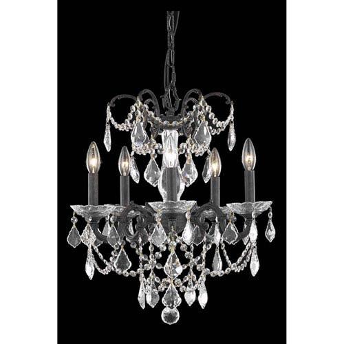 Elegant Lighting Athena Dark Bronze Five-Light Chandelier with Royal Cut Crystal