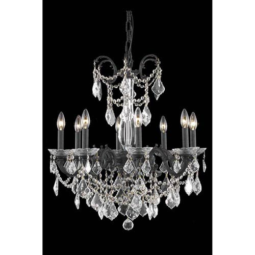 Elegant Lighting Athena Dark Bronze Eight-Light Chandelier with Royal Cut Crystal