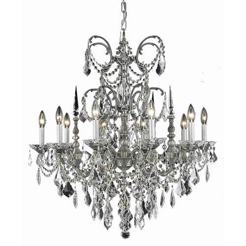 Elegant Lighting Athena Pewter Ten-Light Chandelier with Golden Teak/Smoky Royal Cut Crystals