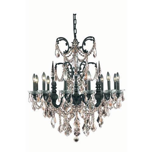 Elegant Lighting Athena Dark Bronze Twelve-Light Chandelier with Golden Teak/Smoky Royal Cut Crystals