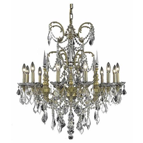 Elegant Lighting Athena French Gold Twelve-Light Chandelier with Clear Royal Cut Crystals