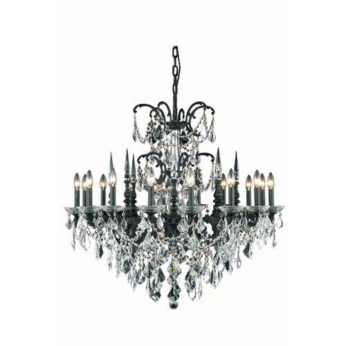 Elegant Lighting Athena Dark Bronze Sixteen-Light Chandelier with Clear Royal Cut Crystals
