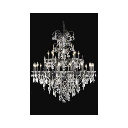 Elegant Lighting Athena Dark Bronze Twenty-Four Light Chandelier with Clear Elegant Cut Crystals