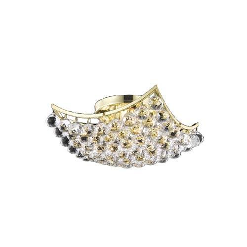 Elegant Lighting Corona Gold 14-Inch Flush Mount with Elegant Cut Crystal