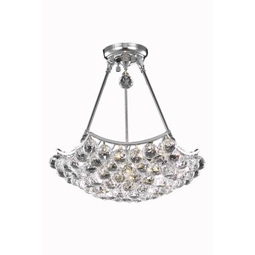Elegant Lighting Corona Chrome Eight-Light Chandelier with Clear Royal Cut Crystals