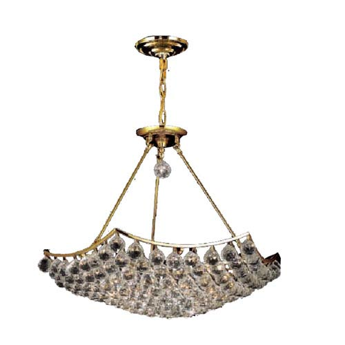Corona Gold Twelve-Light 26-Inch Pendant with Royal Cut Clear Crystal