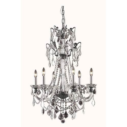 Elegant Lighting Imperia Dark Bronze Six-Light Chandelier with Swarovski Strass Crystal