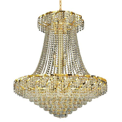 Elegant Lighting Belenus Gold Eighteen-Light 30-Inch Chandelier with Royal Cut Clear Crystal