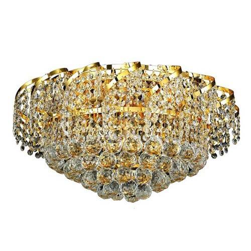 Elegant Lighting Belenus Gold Eight-Light 20-Inch Flush Mount with Royal Cut Clear Crystal
