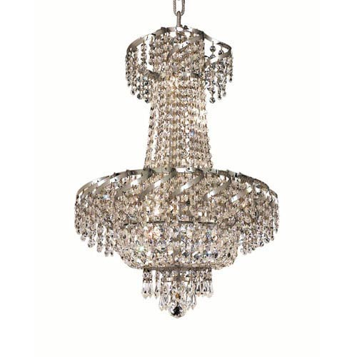 Belenus Chrome Six-Light 18-Inch Chandelier with Royal Cut Clear Crystal