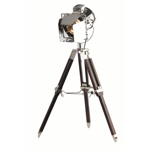 Ansel Tripod Chrome and Brown 6.5-Inch Floor Lamp