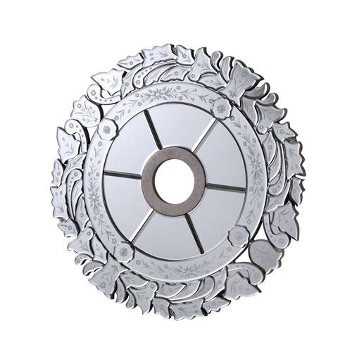 Mirrored Medallion Silver 24-Inch Leaf Medallion