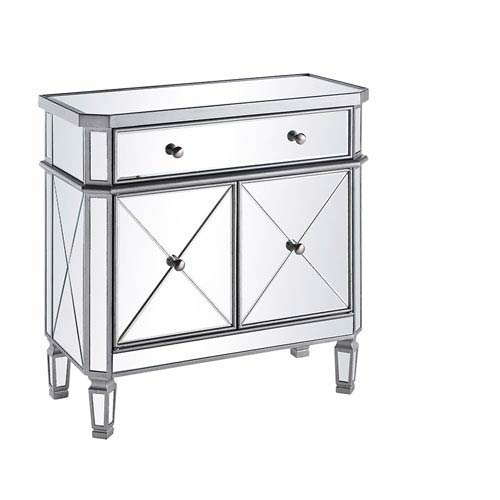 Silver with Clear Mirror Vanity Cabinet