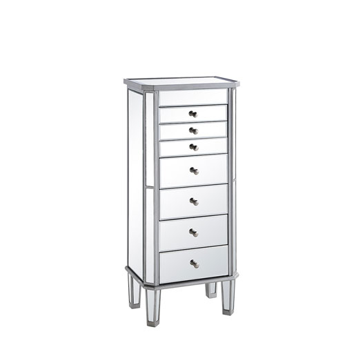 Silver with Clear Mirror Jewelry Armoire