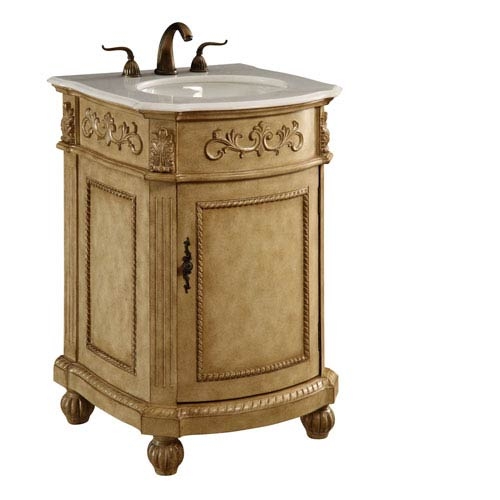 Antique Beige Rounded Vanity Cabinet Only