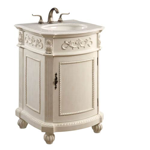 Antique White Rounded Vanity Cabinet Only