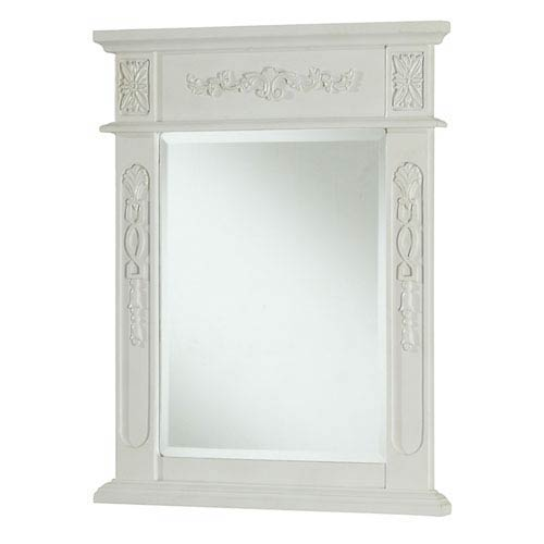 Antique White Rectangular Mirror with Top and Side Detail