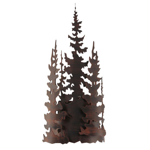 Rustic Living II Burnt Sienna One-Light Iron Trees Wall Sconce