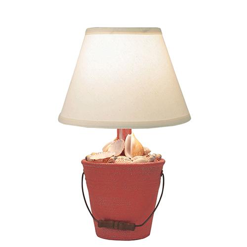 Coastal Living Weathered Coral One-Light Mini Bucket of Shells Table Lamp