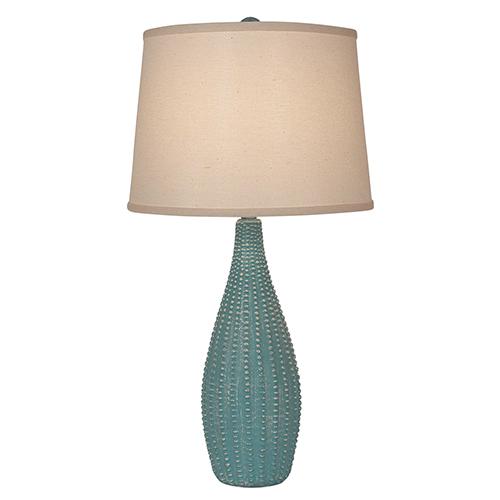 Coastal Living Weathered Turquoise Sea One-Light Beaded Vase Table Lamp