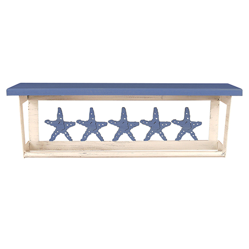 Coastal Living Weathered Periwinkle Towel Bar with Starfish Accent