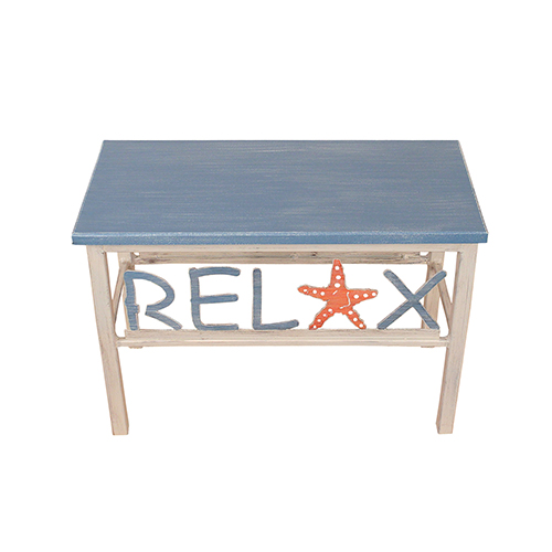 Coastal Living Wedgwood Blue Relax Bench with Wooden Top