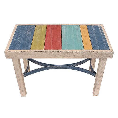 Coastal Living Multicolor Flat Bar Bench with Slat Top