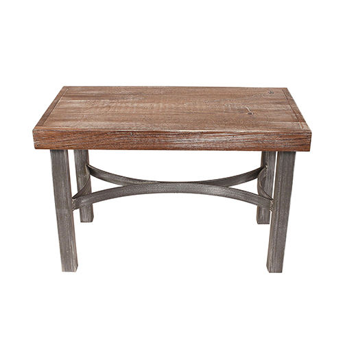 Coastal Living Weathered Gray and Brown Bench with Framed Top