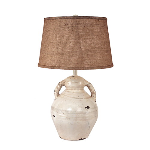 Coast Lamp Manufacturing Casual Living Heavy Distressed Light Nude One-Light Swirl Handled Pottery Table Lamp