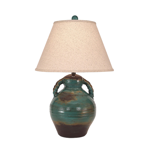 Casual Living Harvest One-Light Swirl Handled Pottery Table Lamp
