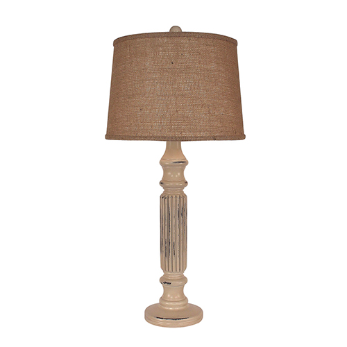 Coast Lamp Manufacturing Distressed Cottage One-Light Ribbed Table Lamp