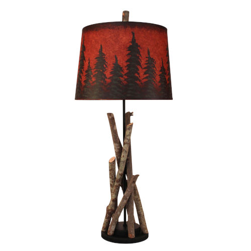 Rustic Living Black Red Pine Tree One-Light Table Lamp