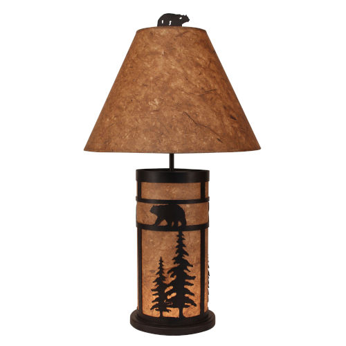 Rustic Living Kodiak Woodchip Stain Bear and Feather Tree Two-Light Table Lamp