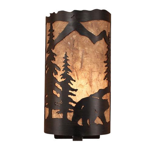 Rustic Living Kodiak Woodchip Stain One-Light Wall Sconce