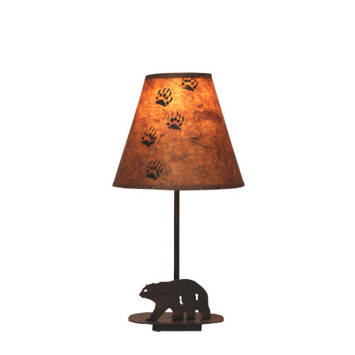 Rustic Lighting Burnt Sienna One-Light Iron Bear Table Lamp