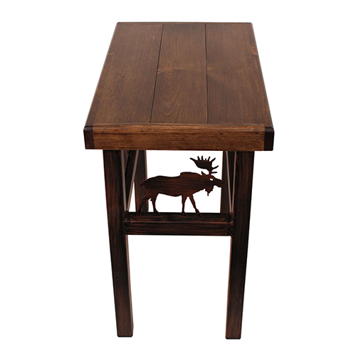 Rustic Living Dark Stain Rectangular End Table with Moose