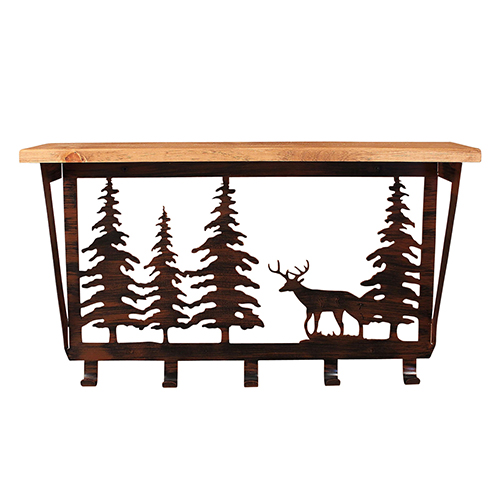 Rustic Living Brown and Black Iron Deer Pine Trees Coat Rack