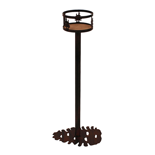 Rustic Living Burnt Sienna Iron Double Tree Band Drink Holder with Pine Cone Base