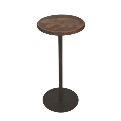 Rustic Burnt Sienna with Stain Top Drink Table with Walking Bear Accent