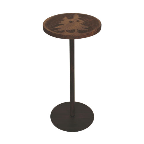 Rustic Burnt Sienna with Stain Top Drink Table with Double Pine Tree Accent