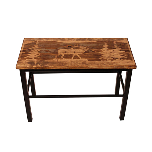 Rustic Living Brown and Black Wooden Elk Scene Bench
