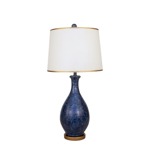 Two Tone Navy and Gold One-Light 15-Inch Table Lamp with Round Gold Base