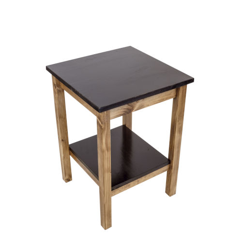 Stain and Black  17-Inch End Table with Top and Shelf