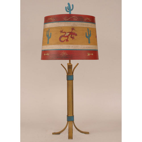 Rustic Living Honey Streak and Teal One-Light Table Lamp