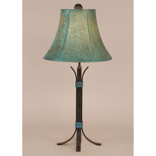 Rustic Living Rust Streak and Jade One-Light Table Lamp
