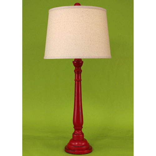 Coast Lamp Manufacturing Casual Living Heavy Distressed Brick Red One-Light Buffet Lamp