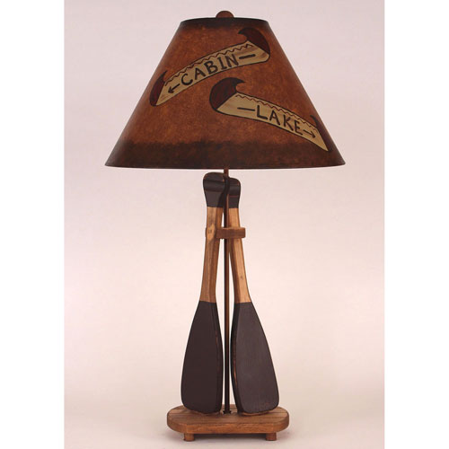 Rustic Living Natural Stain and Red One-Light Table Lamp